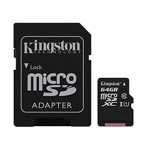 Kingston Canvas Select 64GB microSDHC Class 10 microSD Memory Card UHS-I 80MB/s R Flash Memory Card with Adapter (SDCS/64GB) ()