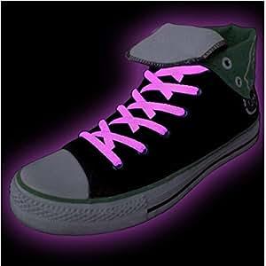 Neon cordones en color rosa–Glow In The Dark en par