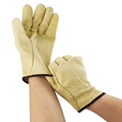 Unlined Pigskin Driver Gloves, Cream, Large, 12 Pairs, Sold as 12 Each