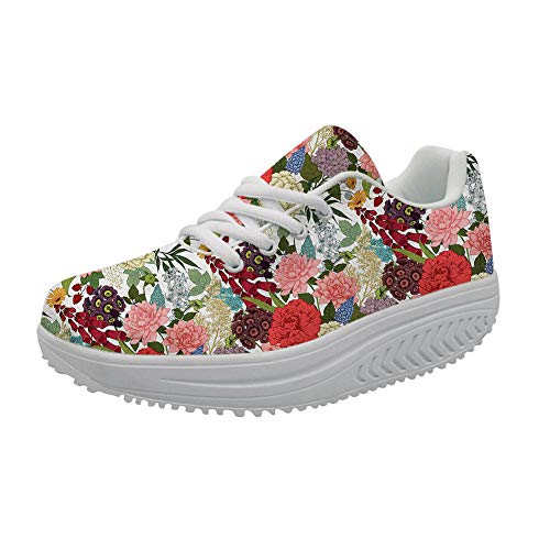 - FOR U DESIGNS Platform Lace up Sneaker Casual Wedges Toning Walking Shoes 3D Flower Pattern Fitness Rocking Shoe for Women US 10