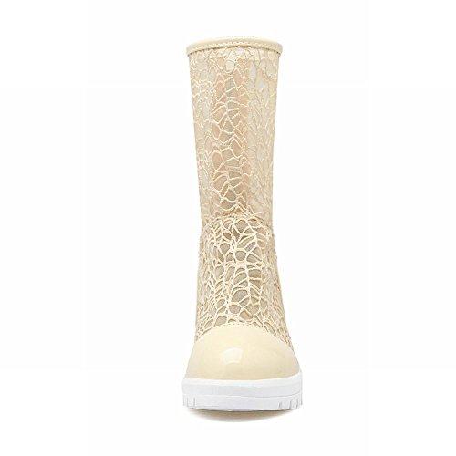 Carolbar Women's Contrast-Stitching Heighted Inside Zip Platform Summer Boots Beige uHBTxMzY
