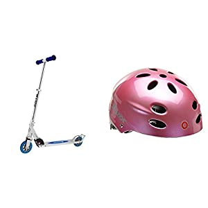 Razor A3 Kick Scooter, Blue, Frustration Free Packaging w/ Pink Helmet