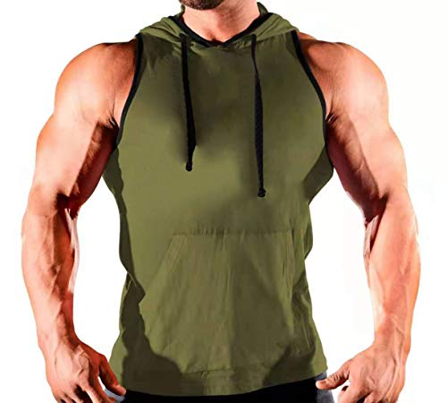 NEW Mens Tank Top Muscle Shirt Size Medium Green Sports Athletic Pocket Workout