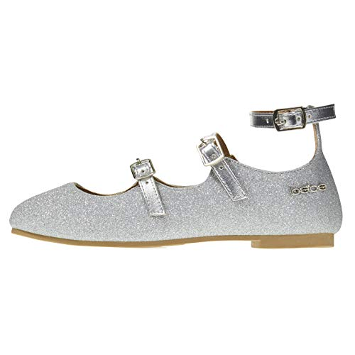 bebe Toddler Girls Ballet Flats Size 7 Glittery with Elastic Strap Mary Jane Silver