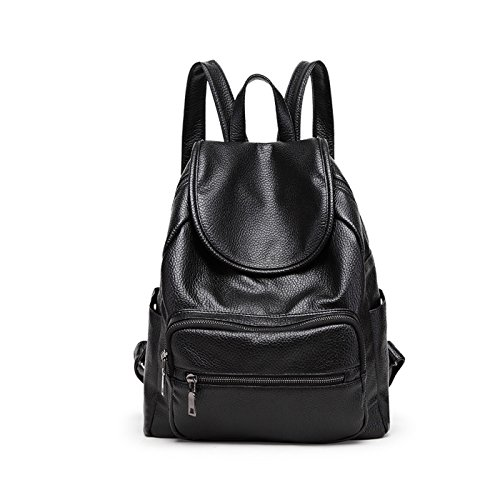 SDINAZ Mujer mochilas Moda PU piel viaje mochila casual bolso bandolera escolar Dama bolsa Schwarz