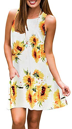Spring Dresses Junior (Summer Beach Dresses for Women Tshirt Sundresses Boho Casual Sleeveless Floral Shift Pockets Swing Loose Damask Sun Flower1 Large)