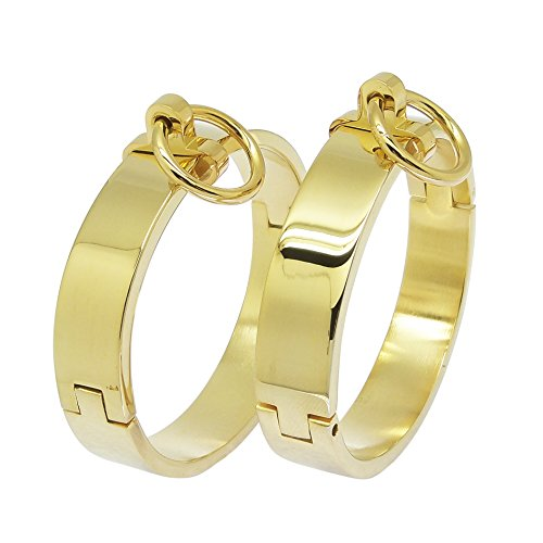 ACECHANNEL Stainless Steel Wrist Ankle Cuffs with Removable O Ring (H049P 70MM Gold)