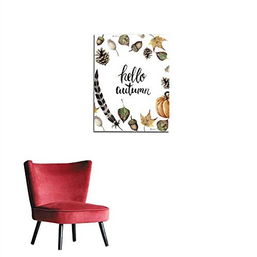 (wall picture decoration Watercolor autumn border with hello autumn lettering Hand painted pine cone acorn berry yellow and green fall leaves feather and pumpkin botanical ornament isolatmural)