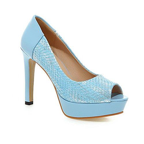 AgooLar Women's Peep Toe Spikes Stilettos Pull On Solid Sandals Blue lmu7NjsX
