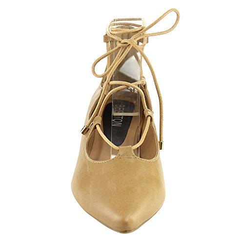 Beston IA12 Womens Lace Up Ankle Tie Cutout Comfort Flats Half Size Bigger, Color:CAMEL, Size:6.5