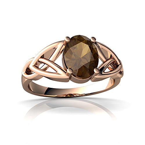 14kt Gold Smoky Quartz 8x6mm Oval Celtic Trinity Knot Ring