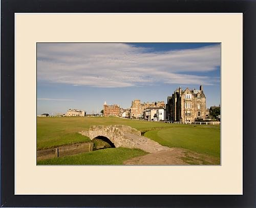18th Hole Framed (Framed Print of Golfing the special Swilcan Bridge on the 18th hole at the world famous)