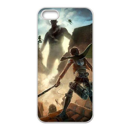 Attack On Titan coque iPhone 4 4S Housse Blanc téléphone portable couverture de cas coque EBDOBCKCO13871