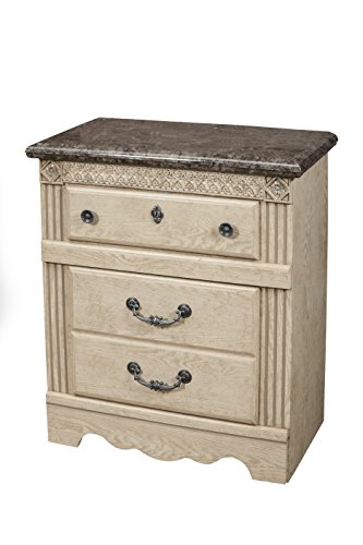 Sandberg Furniture Amalfi 2-Drawer Nightstand with USB Outlet, Warm Bisque Oak