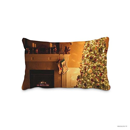 Caiemreo Home Bedroom Decor Custom Xmas Ornaments Fireplace Pillowcase Zippered Two Sides Design Printed pillows Standard Pillow Cover Cushion Case Covers by Caiemreo