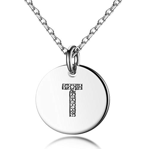- Dainty Disc Initial Necklace S925 Sterling Silver Letters T Alphabet Pendant Necklace Birthday Gift for Friends