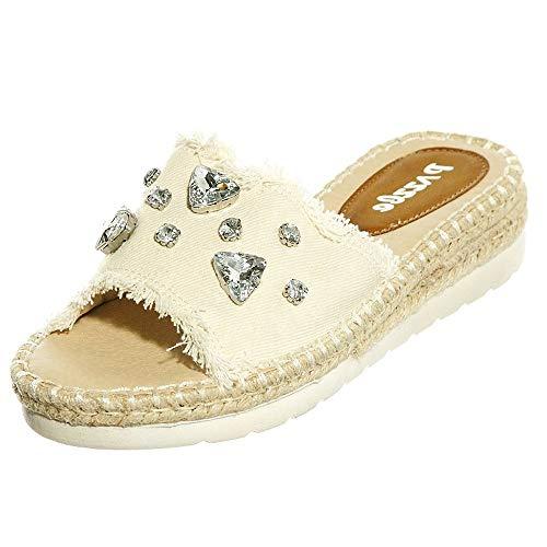 shoewhatever Denim Rhinestone Band Shimmering Flat Sandal (10, Natural)[Apparel] ()