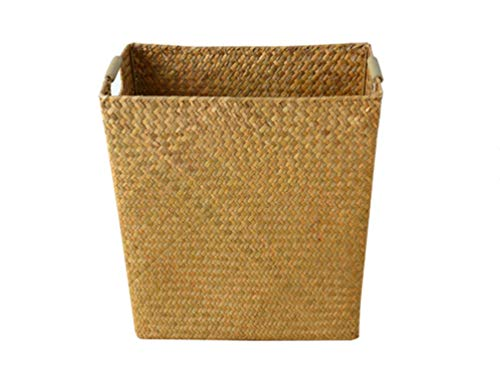 (ZYLE-Storage Basket Rattan Wicker Seaweed Storage Box Storage Basket Wooden Handle Handle Storage Basket 353430cm)
