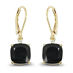 14K Yellow Gold Plated 6.59 Carat Genuine Black Onyx & White Topaz .925 Sterling Silver Earrings