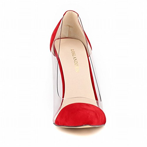 High Mouth Stiletto Glue Heel Pumps Shallow Vert Xianshu Transparent Stitching Shoes Toe Pointed xqXpxA6