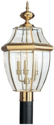 Sea Gull Lighting 8239-02 Outdoor Post Mount with Clear BeveledGlass (Brass Outdoor Post Mount)