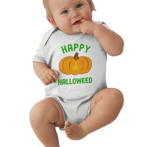 HUXING Happy Halloweed Funny Halloween Weed Unisex Baby Bodysuit Boy Jumpsuit Onesies White -