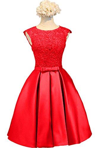 Knielang Kurzes Abendkleider Braut Ballkleider La Brautjungfernkleider Spitze Rot Damen Cocktailkleider mia Rot 6ISWzn