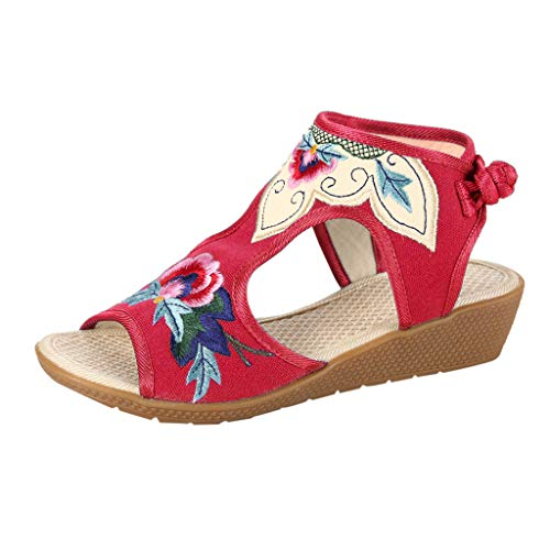- TIFENNY Espadrilles Sandals for Women Wedges Heel Color Matching Fish-Mouth Retro National Embroidered Shoes