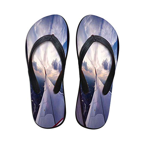 Airplane Decor Wear Resisting Flip Flops,Airplane Travel Time is Sunset Business Distant Evening Float Holiday Horizon Journey Window Decorative for Indoor & Outdoor,US Size 7 ()