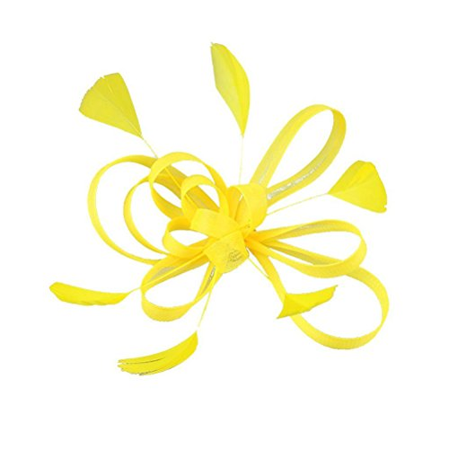 NUOLUX Wedding Bridal Feather Fascinator Hair Clip Brooch Pin Hair Accessory (Yellow)