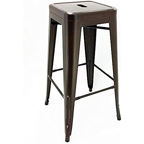 Set Of 4 Ajax 30 Contemporary Steel Tolix Style Barstool Distressed Copper