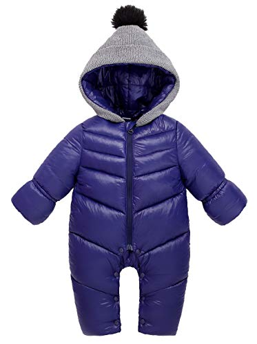 Baby Snowsuit Infant Newborn Baby Hoodie Down Jacket Jumpsuit Snow Suit Winter Zip Up Long Sleeve One-Piece Coat Blue 12-18 Months