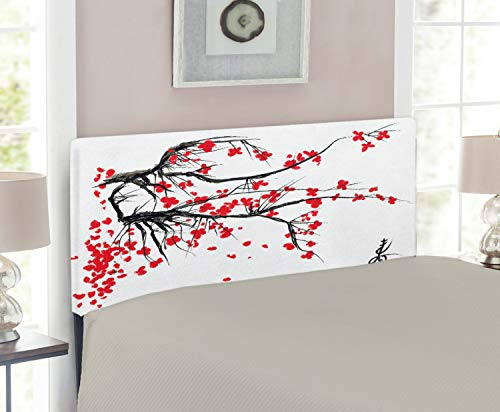 Twin Cherry Size Headboard (Ambesonne Nature Headboard for Twin Size Bed, Sakura Blossom Japanese Cherry Tree Garden Summertime Vintage Cultural Print, Upholstered Metal Headboard for Bedroom Decor, Grey and Vermilion)