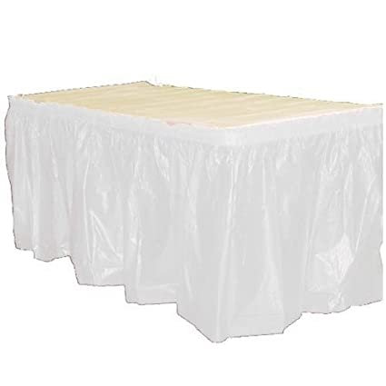 Exquisite Solid Color 14 Ft. Plastic Tablecloth Skirt, Disposable Plastic  Tableskirts   White