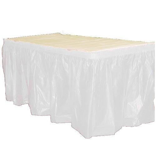 Exquisite Solid Color 14 Ft. Plastic Tablecloth Skirt, Disposable Plastic Tableskirts - White - 6 Count by Exquisite (Image #1)