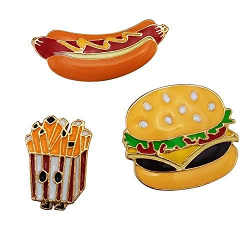 HAISWET Food 3 Lapel Pin Set Brooch Hamburger Ham Chip Shape Gold Tone