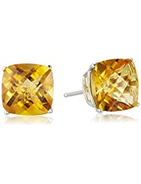 Sterling Silver Cushion Checkerboard-Cut Gemstone Stud Earrings (8mm)