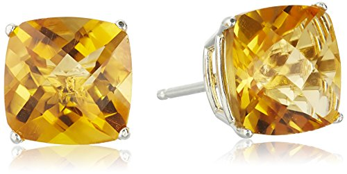 Sterling Silver Cushion Checkerboard Cut Citrine Studs - Earrings Checkerboard Citrine