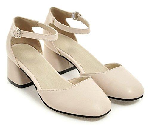 Aisun Femmes Orteil Carré Simple Habillé Bloc De Boucle Mi-talon Dorsay Courroie De Cheville Pompes Chaussures Beige
