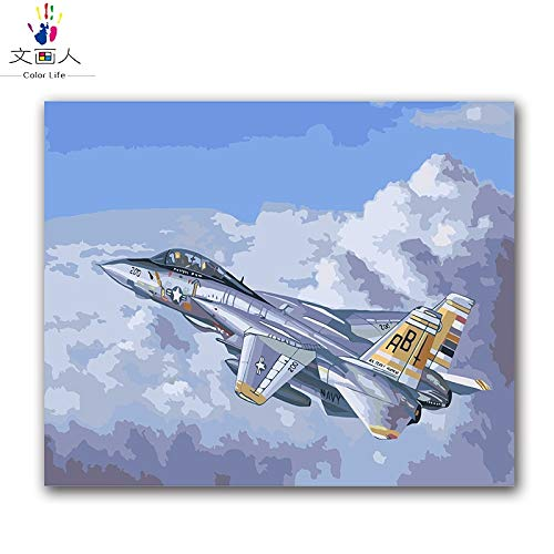 40x50 with frame 9101 KYKDY Drawing coloring by Numbers Military Tanks Aircraft Warship Painting Pictures by Numbers as Gift to Military Fans for Hoom Decor,9101,40x50 with Frame