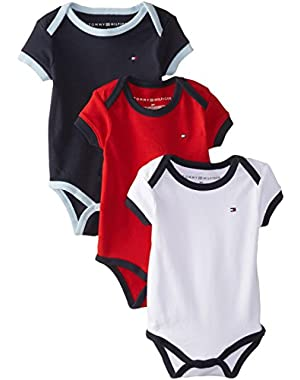 Tommy Hilfiger Baby Boys' Short Sleeve Ken Bodysuit (Pack of 3)