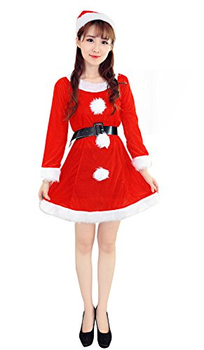 YFFaye Women's Christmas Santa's Costume (Grease Female Characters)