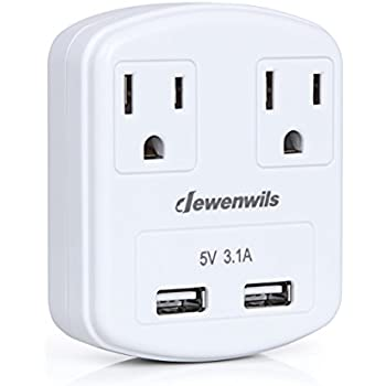 Dewenwils Multi Outlet Plug 2 AC Outlets with Dual USB Ports (2.4A ...