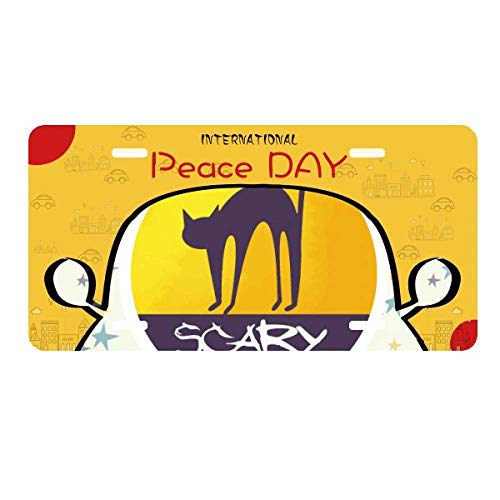 cold master DIY lab Horror Cat Scary Halloween License Plate Tag Car Decoration Peace -