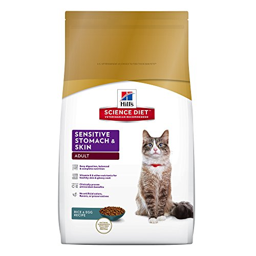 Hill's Science Diet Adult Sensitive Stomach & Skin Cat Food, Rice & Egg Recipe Dry Cat Food, 3.5 lb Bag