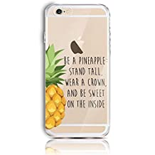 for iPhone 6 Case, for iPhone 6S 4.7 Inch Silicone Gel Case, CrazyLemon Clear Shock Proof Soft Durable Scratch Resistant Rubber Soft TPU Transparent Protective Case Cover Skin Shell for iPhone 6 6S with Beautiful Colourful Pattern Design - Pineapple