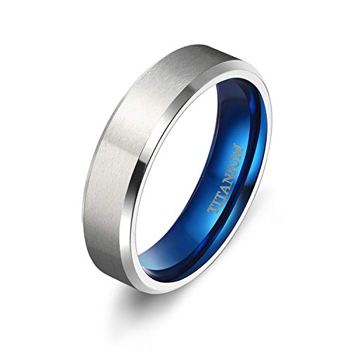 Titanium Promise Ring - TIGRADE 4MM/6MM/8MM Unisex Titanium Wedding Band Rings in Comfort Fit Matte Finish for Men Women (Blue 6mm, 7.5)
