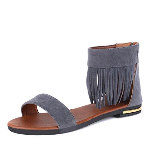 bescita Outdoor Bequeme Damenschuhe Sommer Sandalen Frauen Flach Mode Sandalen (39, Grau)
