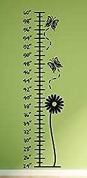 Growth Chart Butterflies Wall Decals Stickers, Black, 48\