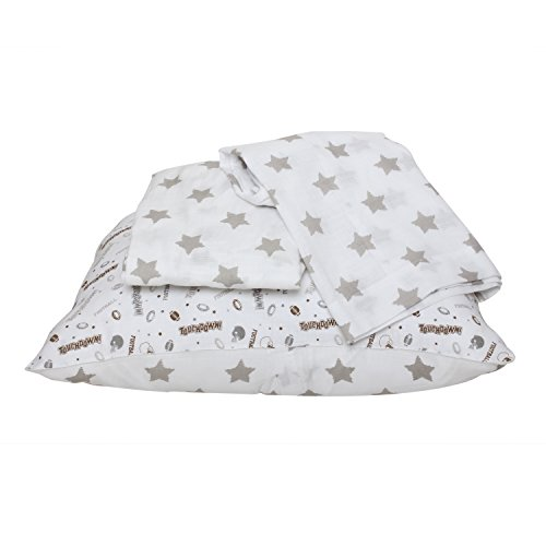 Sports Toddler Bedding Collection (Bacati Muslin 3 Piece Toddler Bedding Sheet Set, Football/Brown/Grey)